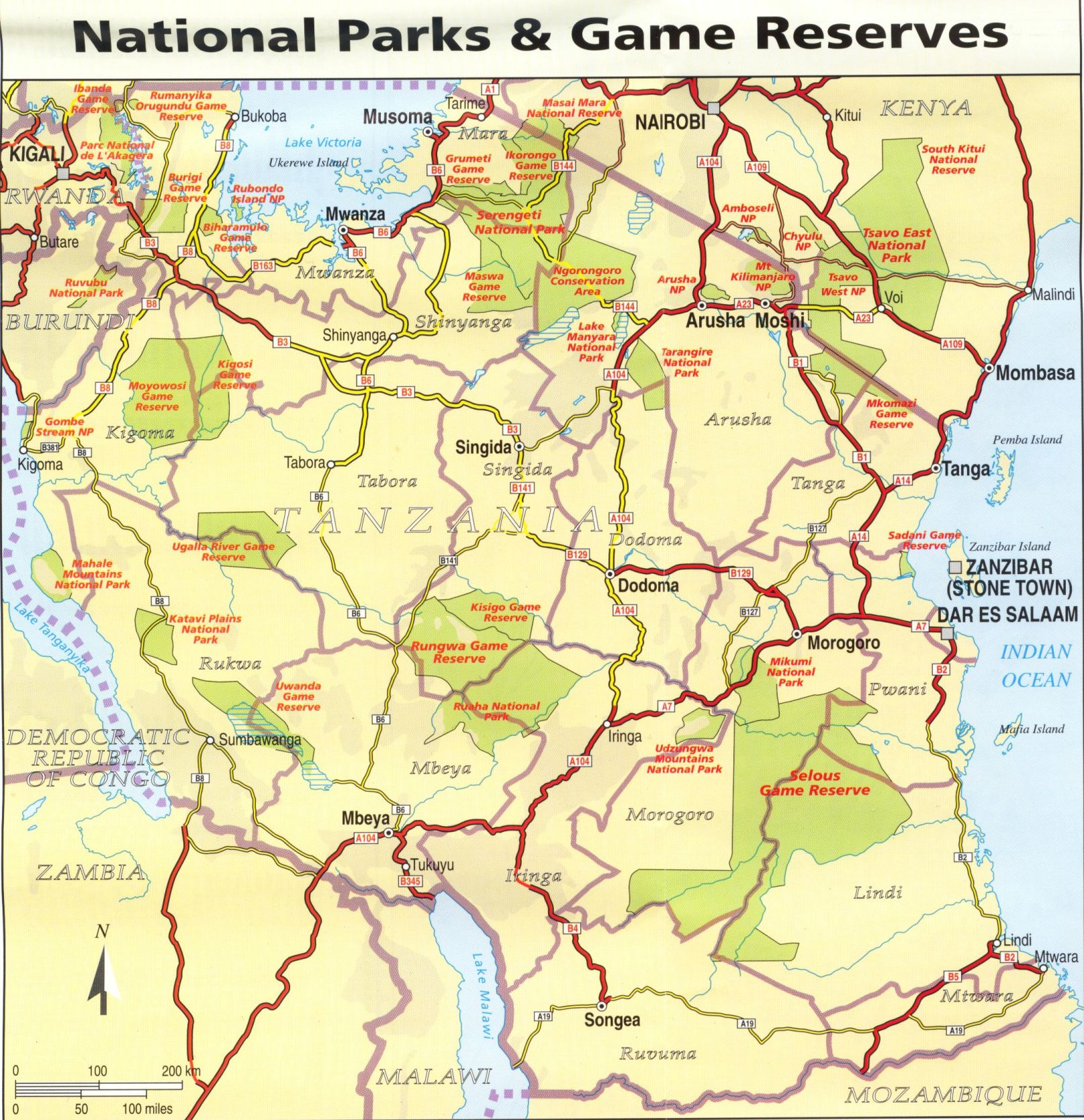 Online Maps Tanzania National Parks